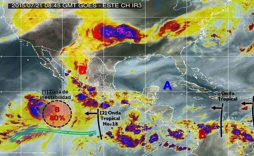 El Servicio Meteorológico Nacional recomendó a la población extremar precauciones y estar atenta a la información que emitan las autoridades, debido a la alta posibilidad de ciclón en el Pacífico. (Imagen SMN)
