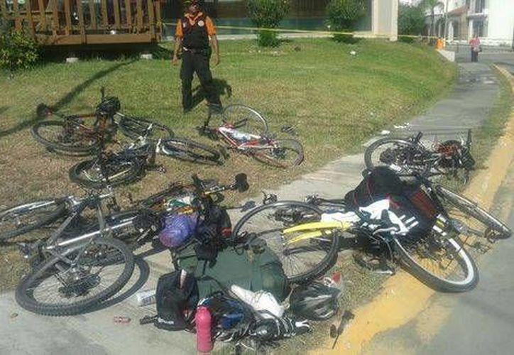 Los ciclistas se dirigían al municipio de Santiago y no contaban con el resguardo de patrullas de Tránsito.(Fotos:Milenio)