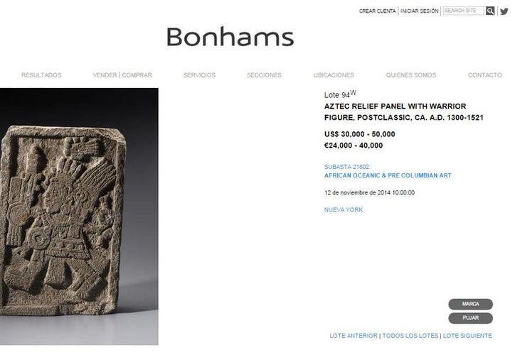El INAH indicó que el catálogo en línea de la casa Bonhams muestra varias piezas arqueológicas falsas. (Captura de pantalla/bonhams.com)