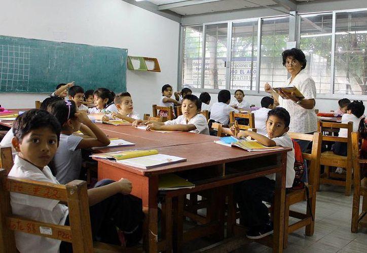 Consolidan estudiantes su habilidad lectora y de Matemáticas. En la imagen, una maestra en clases con sus alumnos. (Milenio Novedades)