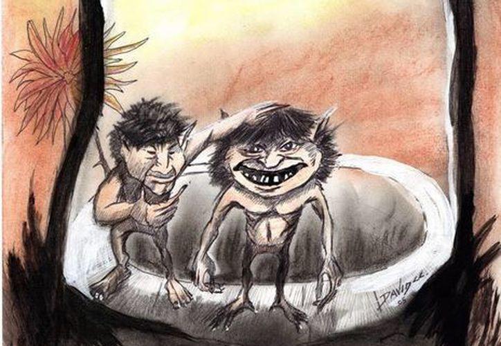 Recreación de tal y como vio don Sergio a los dos aluxes en el brocal del pozo de su casa. (Jorge Moreno/SIPSE)