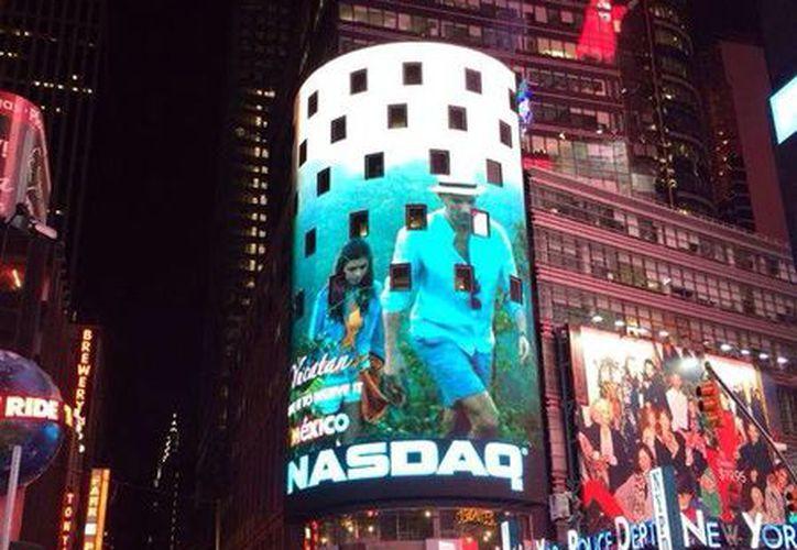 La campaña  Live it to believe it del Consejo de Promoción Turística de México se aprecia en el Times Square de NY. (Milenio Novedades)