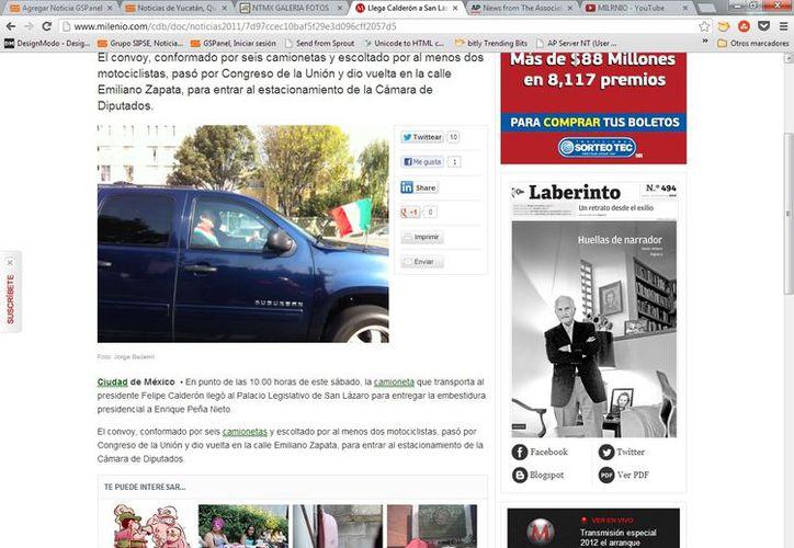 Calderón ya llegó al Palacio Legislativo y en unos momentos más entregará la embestidura presidencial a Peña Nieto.