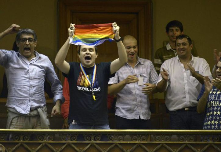 Organizaciones por los derechos de los homosexuales festejaron la aprobación de la ley. (Agencias)