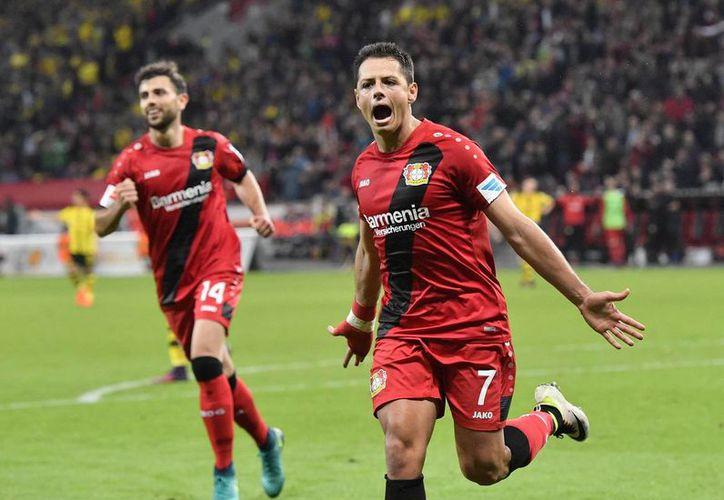 A pesar de que Javier Hernández tiene contrato vigente con el Bayer Leverkusen, los equipos españoles han demostrado su interés por el delantero mexicano debido a sus buenos resultados. (AP/ Martin Meissner)