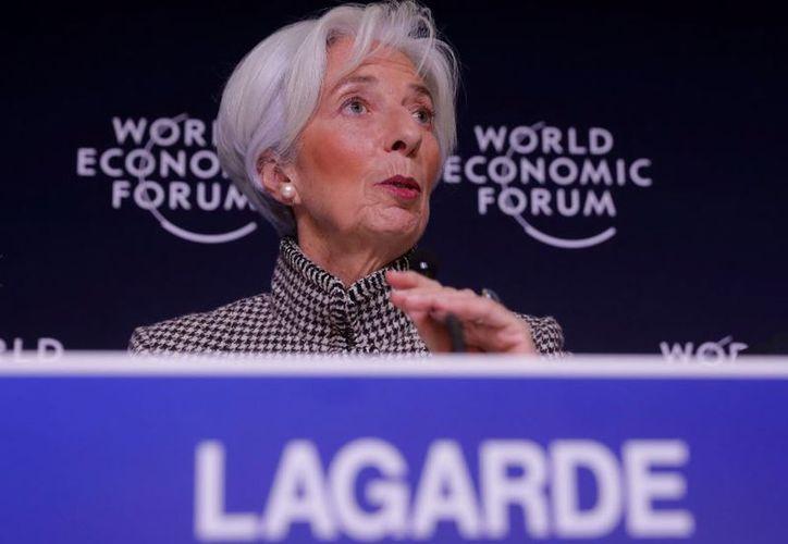Christine Lagarte, directora del FMI, en el Foro de Davos. (AP)