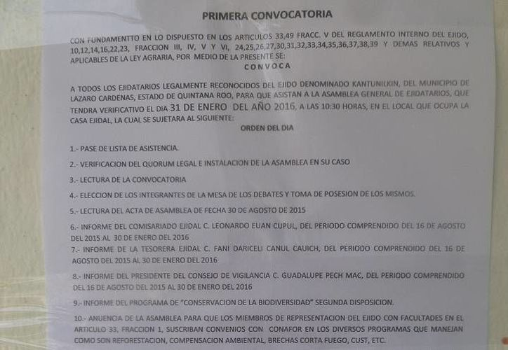 El comisariado ejidal emitió la primera convocatoria. (Raúl Balam/SIPSE)