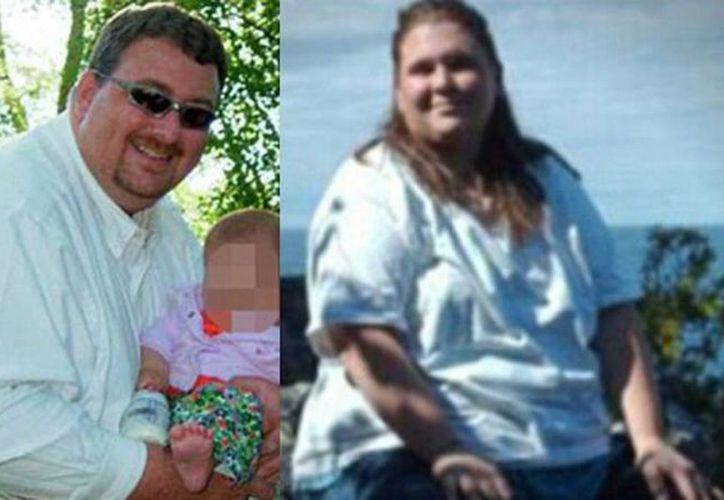 Imagen cuando Bill Anderson pesaba 208 kilos y Crysta Danaher antes de perder 81 kilos. (Infobae.com)