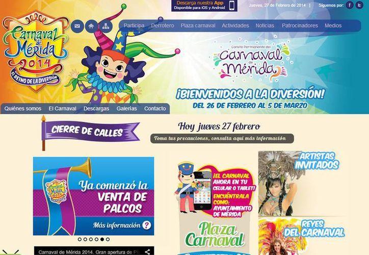 El Ayuntamiento de Mérida tiene como meta superar las 25 mil visitas a su sitio web que registró el Carnaval 2013. Captura de pantalla del micrositio www.merida.gob.mx/carnaval. (SIPSE.com)