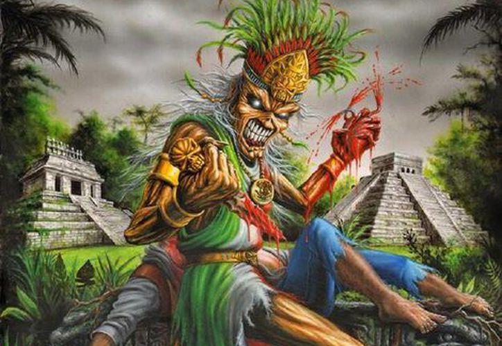 """Iron Maiden lanzará el 4 de septiembre en todo el mundo a través de Parlophone Records su nuevo álbum doble titulado """"The Book of Souls"""".En la foto; la portada del nuevo álbum de la banda británica con alusiones a la cultura maya. (Sipse)"""