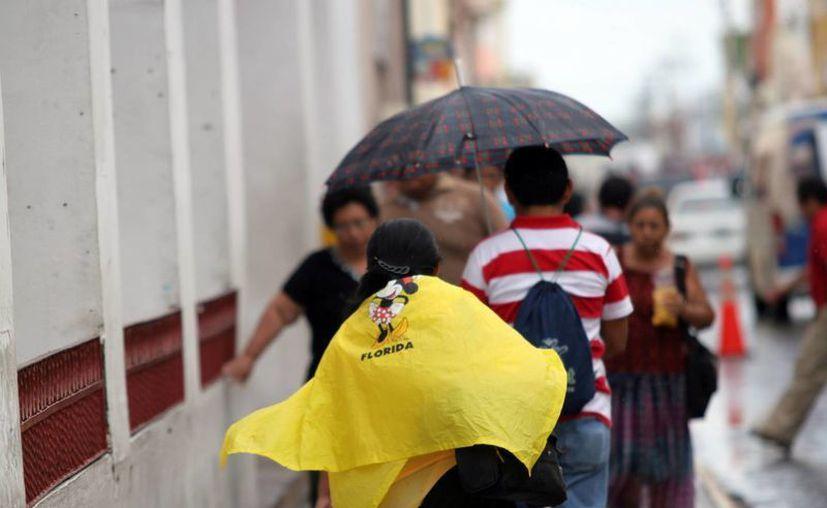 Una lluvia vespertina propició que la gente sacara paraguas e impermeables. (Christian Ayala/SIPSE)