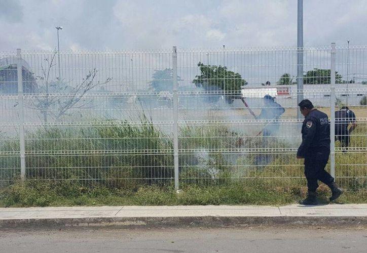 Elementos de la Policía Estatal Preventiva sofocaron el incendio. (Redacción/SIPSE)