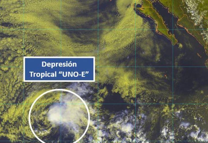 Se formó ayer la Depresión Tropical UNO-E al suroeste del municipio de Los Cabos. (Conagua)
