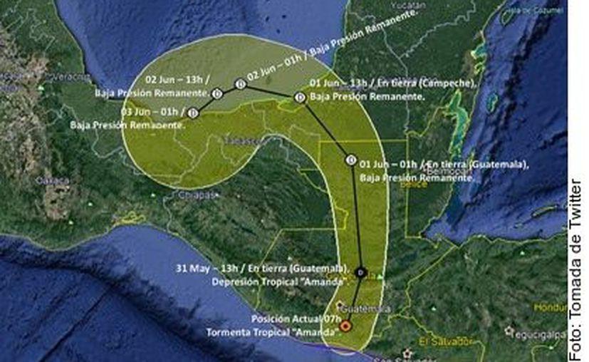 Por la llegada de la tormenta tropical Amanda, piden extremar precauciones y activar protocolos especiales en todos los estados de la Península. (Foto: Reforma).
