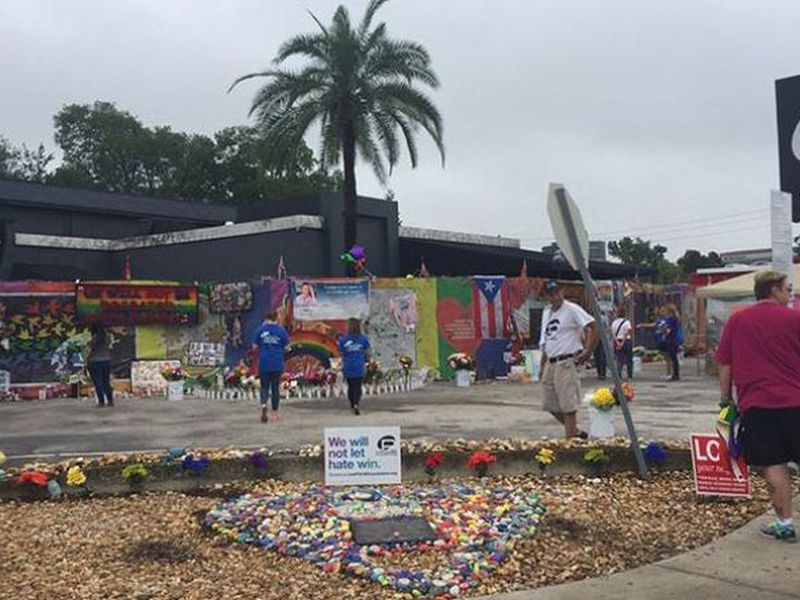 A makeshift memorial continues to grow outside the Pulse nightclub, the day before the one month anniversary of a mass shooting, in Orlando, Fla. (Photo: AP)
