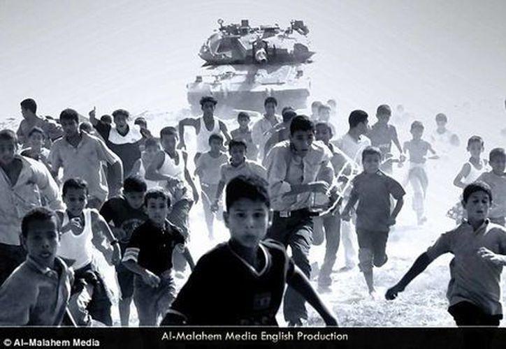 """Imagen del Manual del terrorista: """"Palestina: La traición de la conciencia culpable 'es una publicación en línea en idioma Inglés. (Al-Malahem Media/dailymail.co.uk)"""