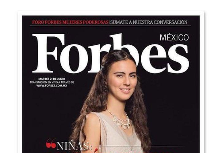 Portada de la revista Fobes en la que aparece Olga Medrano Martín del Campo, la primera mexicana que con sólo 17 años ganó la Olimpiada Europea de Matemáticas. (twitter.com/Forbes_Mexico)
