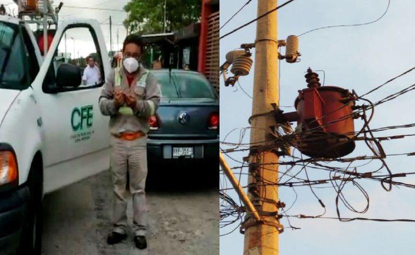 Según lugareños, a las 2 de la mañana del lunes se fue la luz, cuando explotó un transformador. (Novedades Yucatán)
