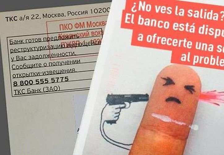 El banco asegura que envía las postales a todos sus clientes morosos. (RT)