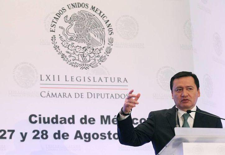 El secretario de Gobernación asistió a la inauguración de los trabajos de la reunión plenaria de los diputados del PRI, en la Ciudad de México. (Notimex)