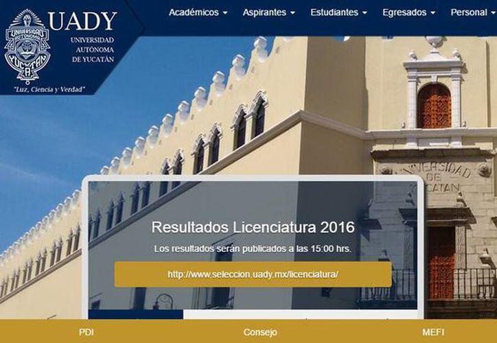 Ya se puede accesar al sitio web de la Uady para que los jóvenes consulten los resultados para ser admitidos en alguna de sus licenciaturas. (uady.mx)