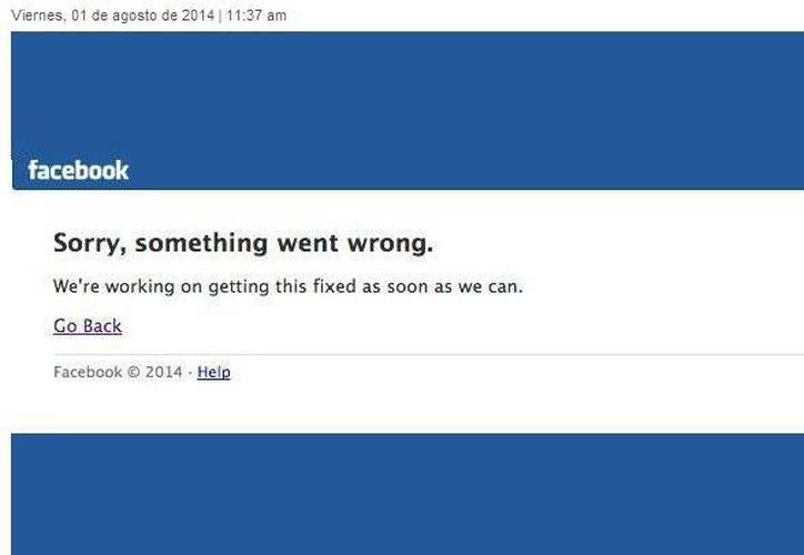 El mensaje sobre el error en la página de Facebook apareció poco antes del mediodía. (Captura de pantalla)