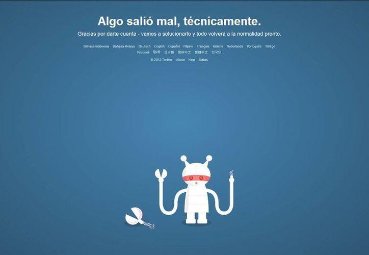 Es la segunda caída que sufre Twitter en 2013. (Captura de pantalla)