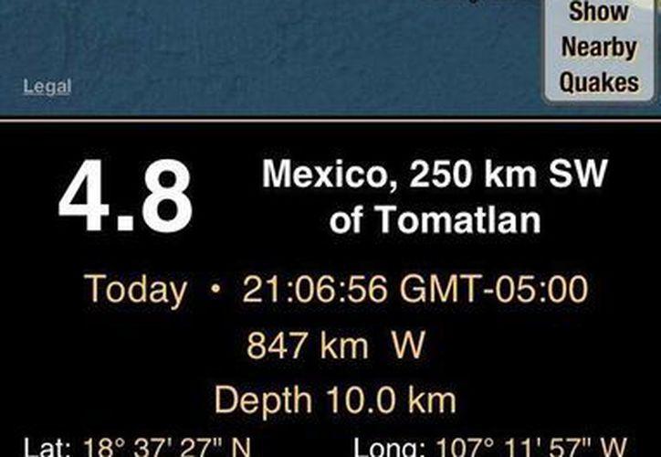 EL movimiento telúrico tuvo una profundidad de 10 km. (Foto: Sky Alert)