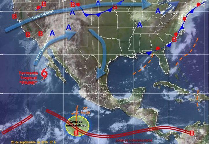 Paine se desplaza hacia el norte a una velocidad de 20 kilómetros por hora. (smn.cna.gob.mx)