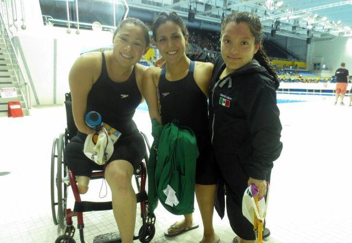 Las mexicanas Doramitzi González, Nely Miranda y Vianney Trejo acapararon el podio de la natación en los Juegos Parapanamericanos Toronto 2015. (Notimex)