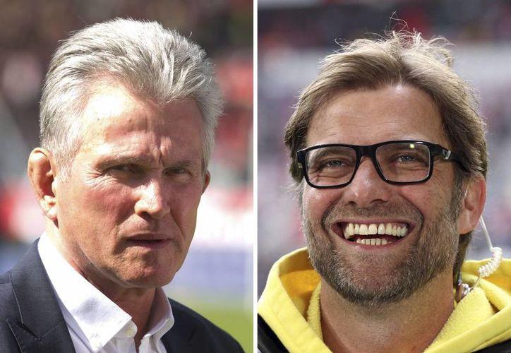 El técnico del Bayern Munich, Jupp Heynckes (i), y su colega del Borussia Dortmund, Juergen Klopp. (Archivo/EFE)
