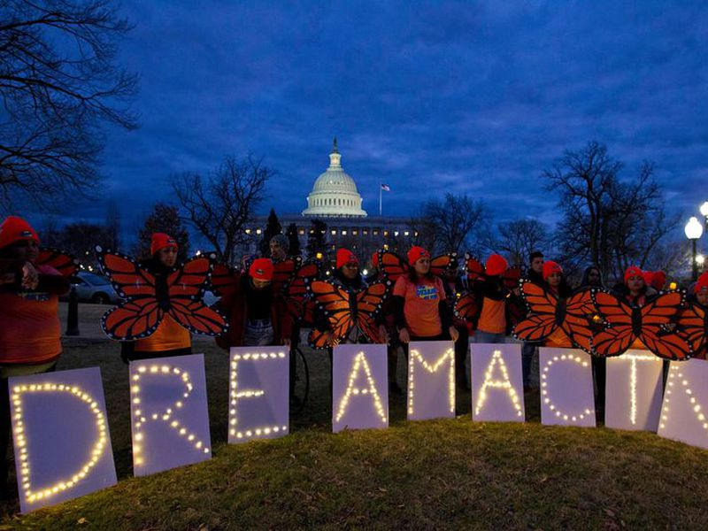 Demonstrators rally in support of Deferred Action for Childhood Arrivals (DACA) outside the Capitol Washington. (AP)