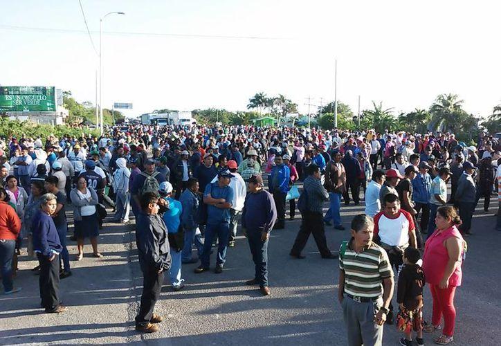 Los campesinos esperan el pago de dos mil pesos, o volverán a bloquear la carretera. (Foto: Javier Ortiz/SIPSE)