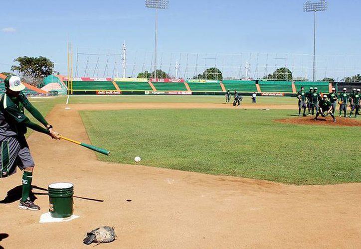 Ayer, lanzadores y bateadores de Leones de Yucatán tuvieron intenso trabajo en el Estadio Kukulcán. (Milenio Novedades)