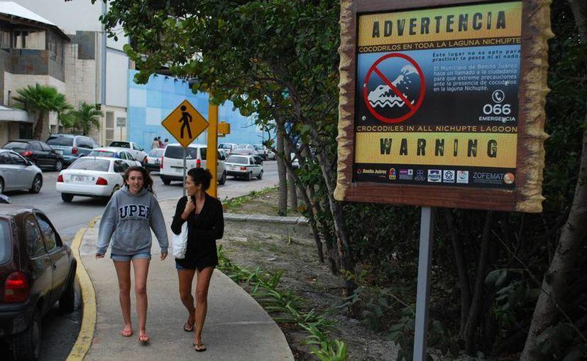 Se han colocado anuncios en español e inglés en la orilla de la laguna. (Tomás Álvarez/SIPSE)