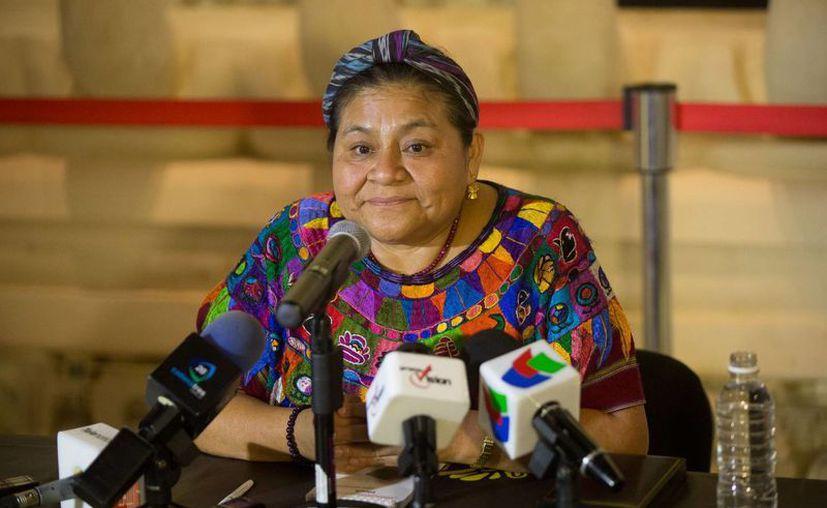 Rigoberta Menchú en conferencia de prensa. (SIPSE)