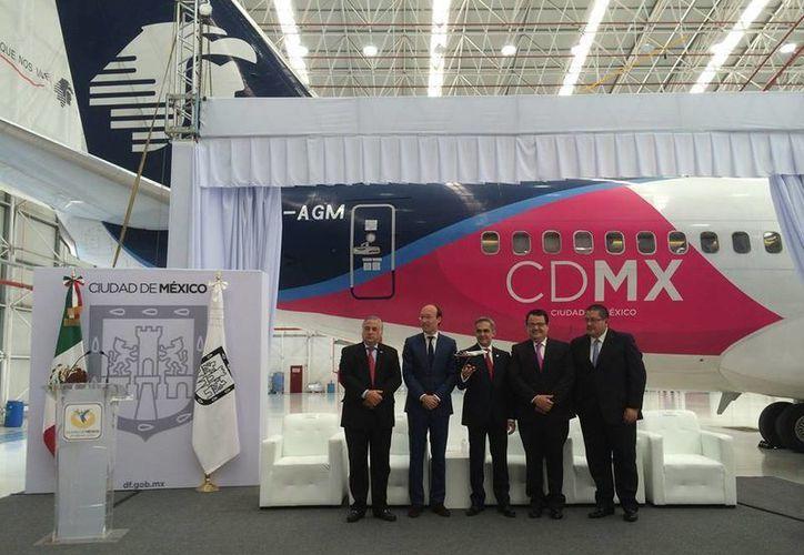 """Aspecto de la presentación de la marca """"CDMX Ciudad de México"""". (Foto Cortesía Aeroméxico)"""