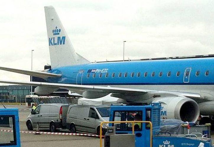 La foto enseña al avión en la pista con un auto forense cerca. (infobae.com)