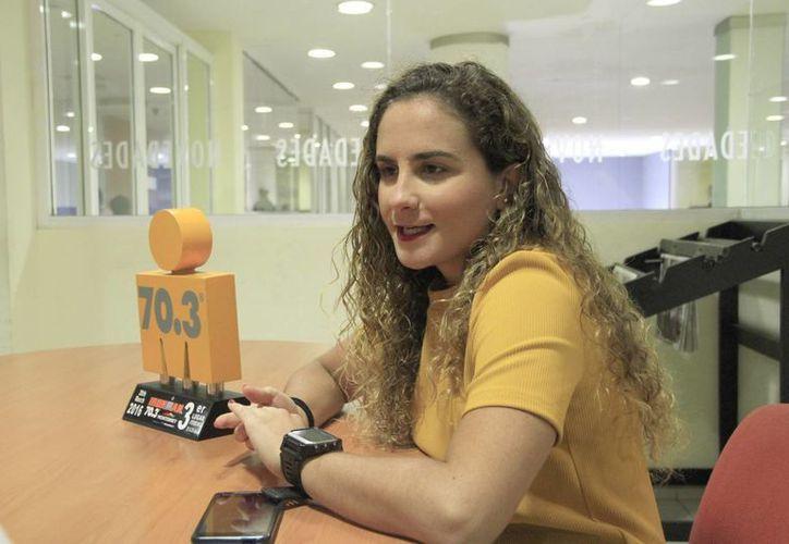 La triatleta cancunense dijo estar muy contenta con el resultado obtenido en Monterrey. (Tomás Álvarez/SIPSE)