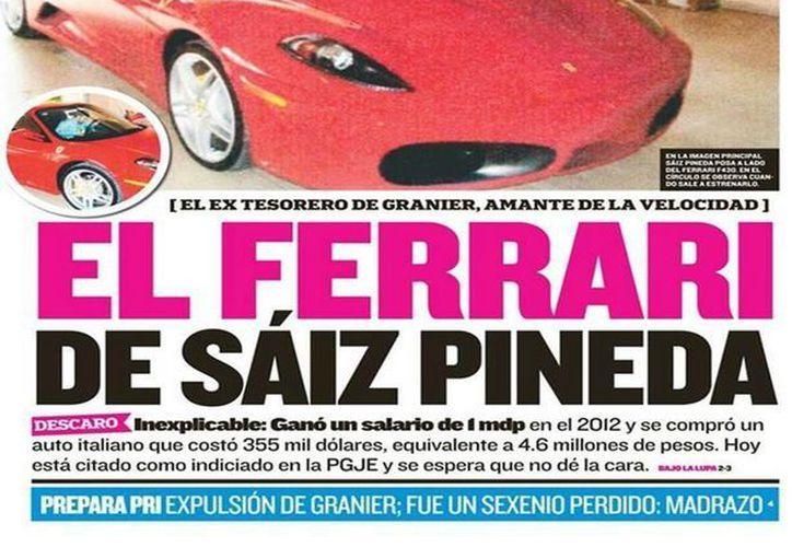 Portada del diario Tabasco Hoy, donde aparece el exfuncionario recibiendo el vehículo. (@informador_MEX)