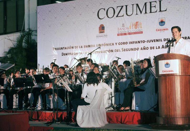 La presentación de la Banda Sinfónica Infanto-Juvenil en el Parque Quintana Roo. (Cortesía/SIPSE)