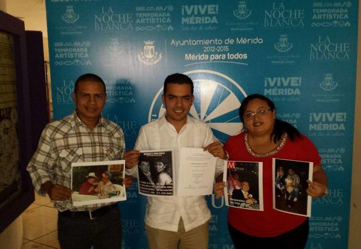 Los regidores Gustavo Espadas, Elías Lixa y Yahayra Centeno en la presentación de la propuesta de Tina Tuyub como recipiendaria de la medalla Héctor Herrera 'Cholo'. (SIPSE)