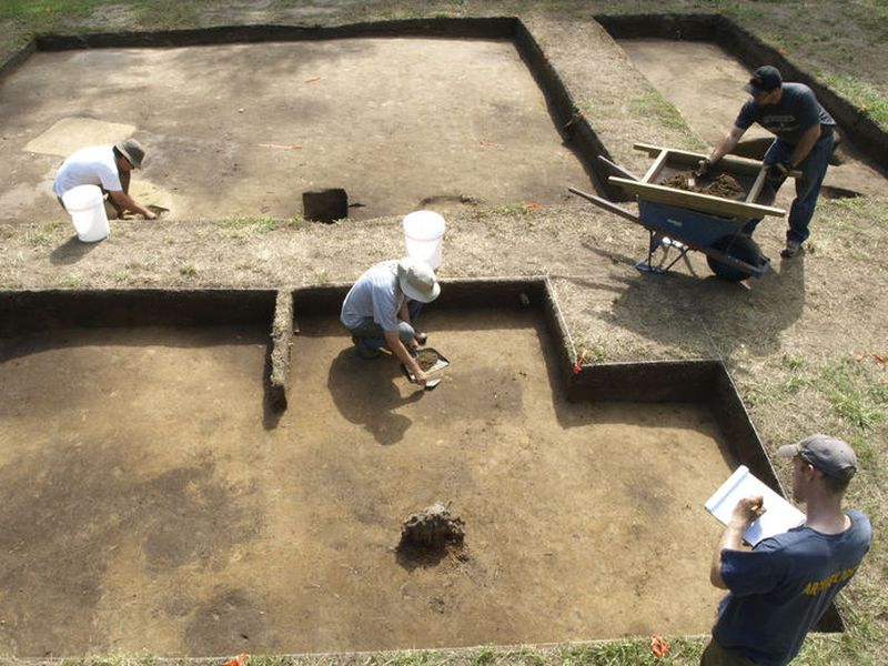 Archaeologists excavate a site known as Site X, in Bertie County.