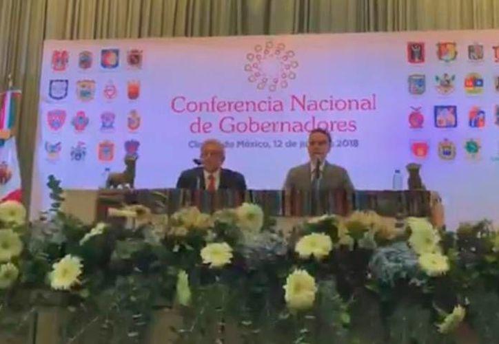 En conferencia de prensa señalaron que los gobernadores trabajarán de la mano de la presidencia en beneficio de la ciudadanía. (Captura de Pantalla)
