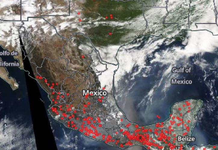 El centro y sur del país son los que presentan un mayor número de incendios forestales. (Foto captura de pantalla/ NASA)