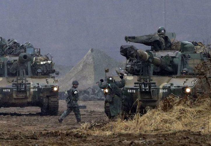 Ejército de Corea del Sur durante un ejercicio militar en la ciudad fronteriza de Paju. (Agencias)