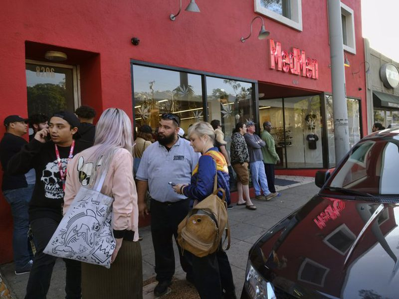 Customers line up for recreational marijuana outside of MedMen, a dispensary in West Hollywood, California. (AP)