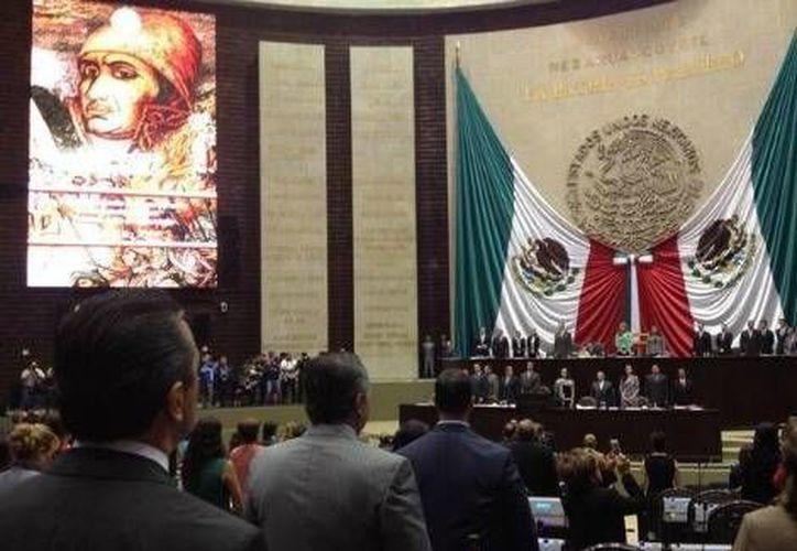 Instalación de la primera sesión extraordinaria, este martes en el palacio legislativo de San Lázaro. (Foto: @AngelinaCM_/MILENIO)