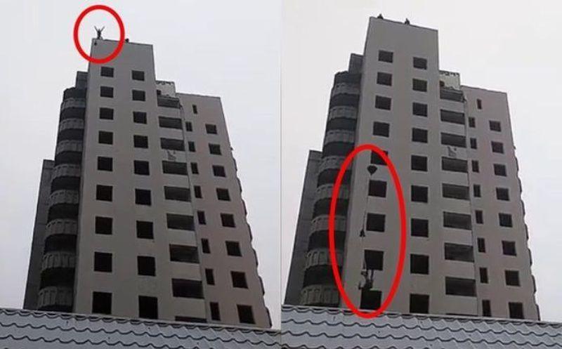Joven salta de edificio con paracaídas casero y muere ante su madre