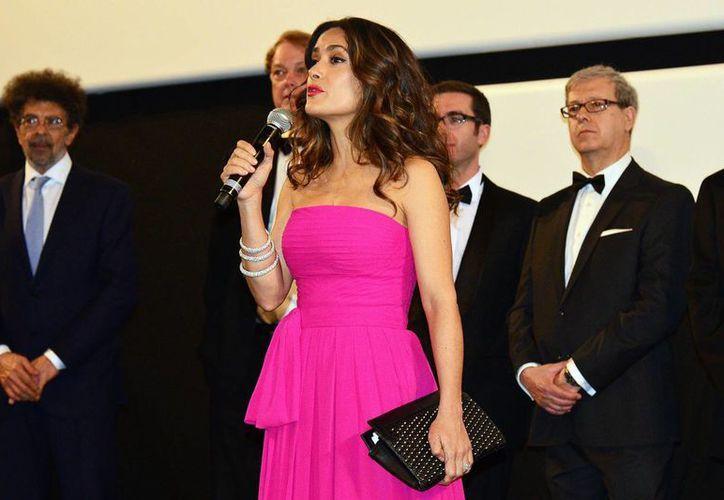 """Salma Hayek durante la presentación de """"El profeta"""" en la 67 edición del Festival de Cine de Cannes. La actriz festejará 49 años de edad con el próximo estreno de la cinta 'The septembers of Shiraz'. (Archivo Notimex)"""